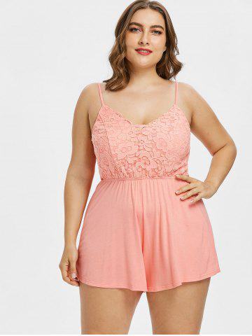 ed5c09e1ba9 Plus Size Lace Panel Scalloped Romper