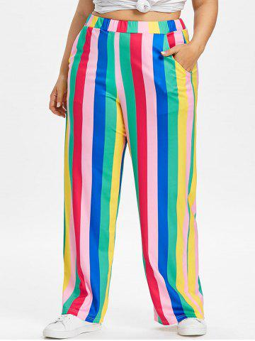 Best Color Block Plus Size Striped Wide Leg Pants