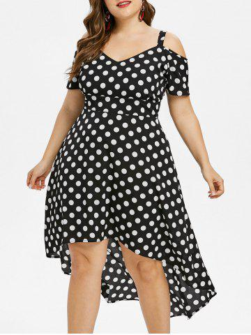 Online Plus Size Polka Dot High Low Dress