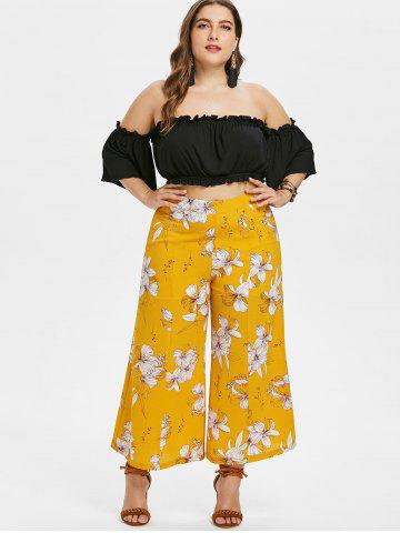 Fancy Plus Size Crop Top and Floral Pants Set