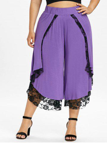 Plus Size Cropped Lace Overlap Palazzo Pants