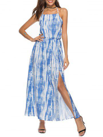 Tie Dyed Print Halter Maxi Dress