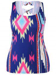 Geometric Pattern Plus Size Bowknot Insert Tank Top -