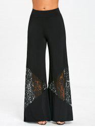 Lace Panel Wide Leg Pants -