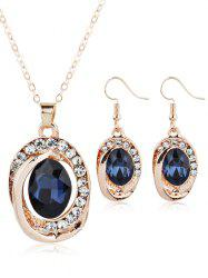 Rhinestone Inlaid Ruby Decorative Hook Earring and Necklace -