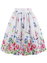 High Waisted Floral Midi Skirt -