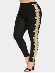 Plus Size Cutwork Lace Sides Leggings -