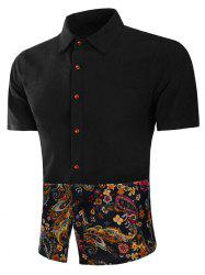 Button Up Floral Paisley Print Panel Shirt -