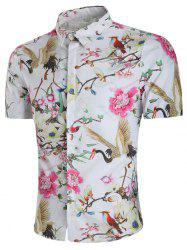 Flower and Crane Print Hidden Button Shirt -