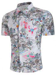 Flower Aquarelle Print Short Sleeve Shirt -