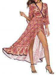 Bohemia Paisley Print Maxi Wrap Dress -