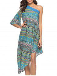 One Shoulder Print Dress -