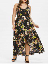 Plus Size Floral Overlap Maxi Dress With Tie Belt -