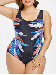 Plus Size Feather Print One Piece Swimwear -