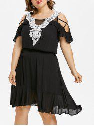Plus Size Ruffle Cold Shoulder Knee Length Dress -