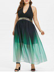 Plus Size Sequined Trim Gradient Prom Dress -