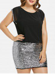 Plus Size Sparkly Mini Blouson Dress -