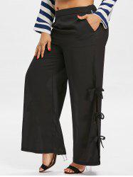 Side Bowknot Insert Plus Size Wide Leg Pants -