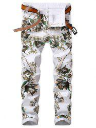 Floral Print Five Pockets Jeans -
