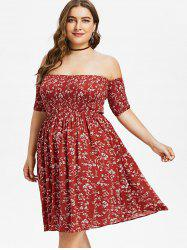 Off Shoulder Plus Size Floral Dress -