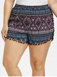 Plus Size Pompoms Tassel Shorts -