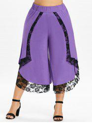 Plus Size Cropped Lace Overlap Palazzo Pants -