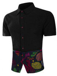 Ethnic Tree Animal Print Panel Short Sleeve Shirt -