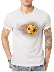 T-shirt à Imprimé Football 3D - Blanc M