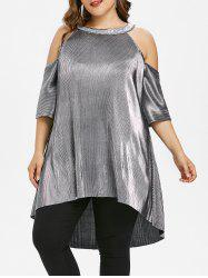 Plus Size Glitter Cold Shoulder High Low Top -