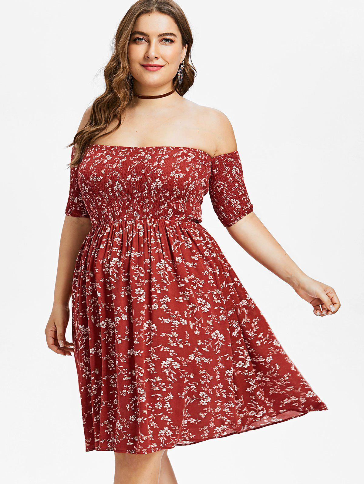 Fashion Off Shoulder Plus Size Floral Dress