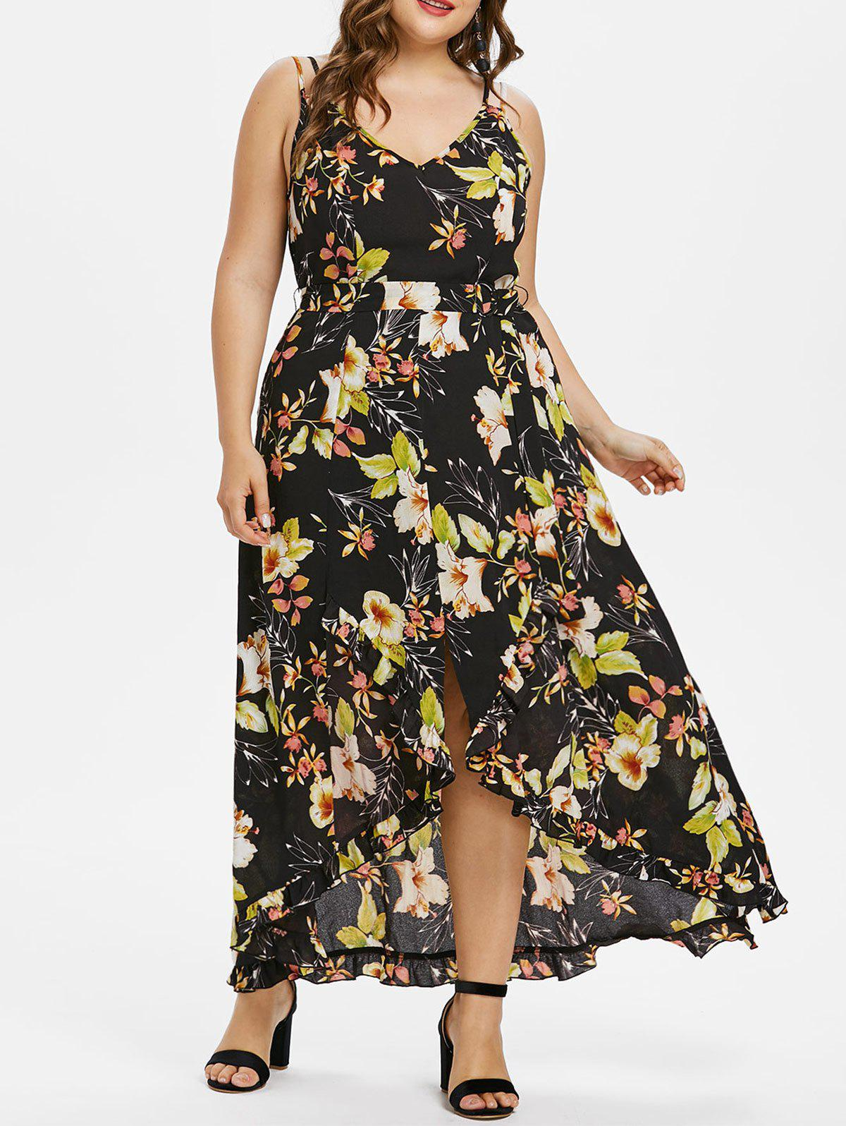 Shop Plus Size Floral Overlap Maxi Dress With Tie Belt