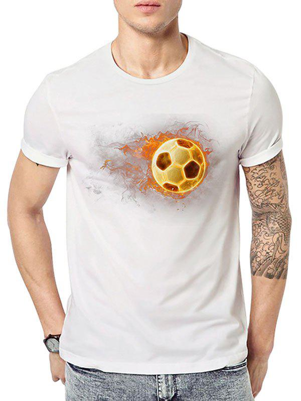 T-shirt à Imprimé Football 3D Blanc M
