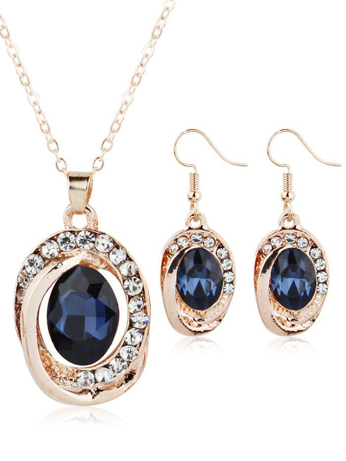 Outfits Rhinestone Inlaid Ruby Decorative Hook Earring and Necklace