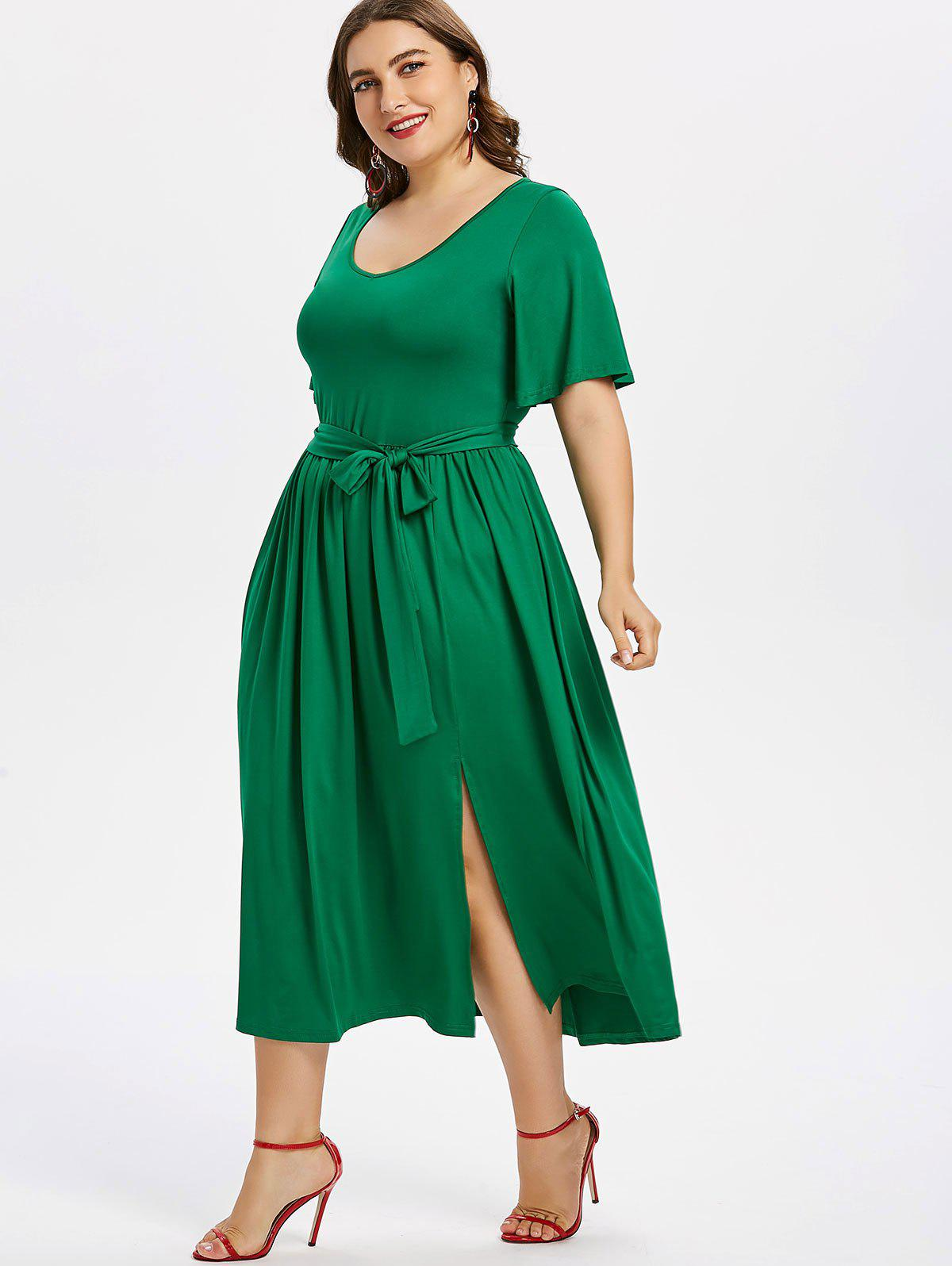 Store Plus Size Plain Belted Dress