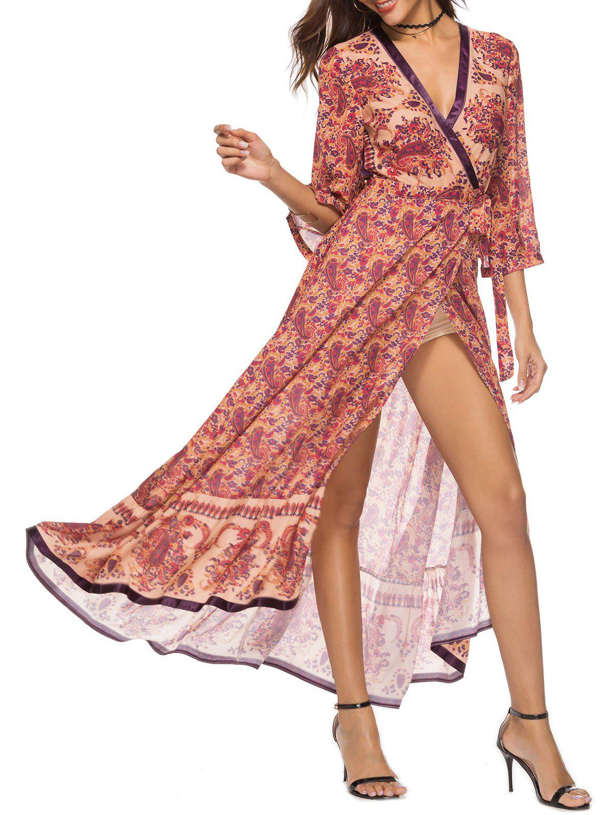 Affordable Bohemia Paisley Print Maxi Wrap Dress
