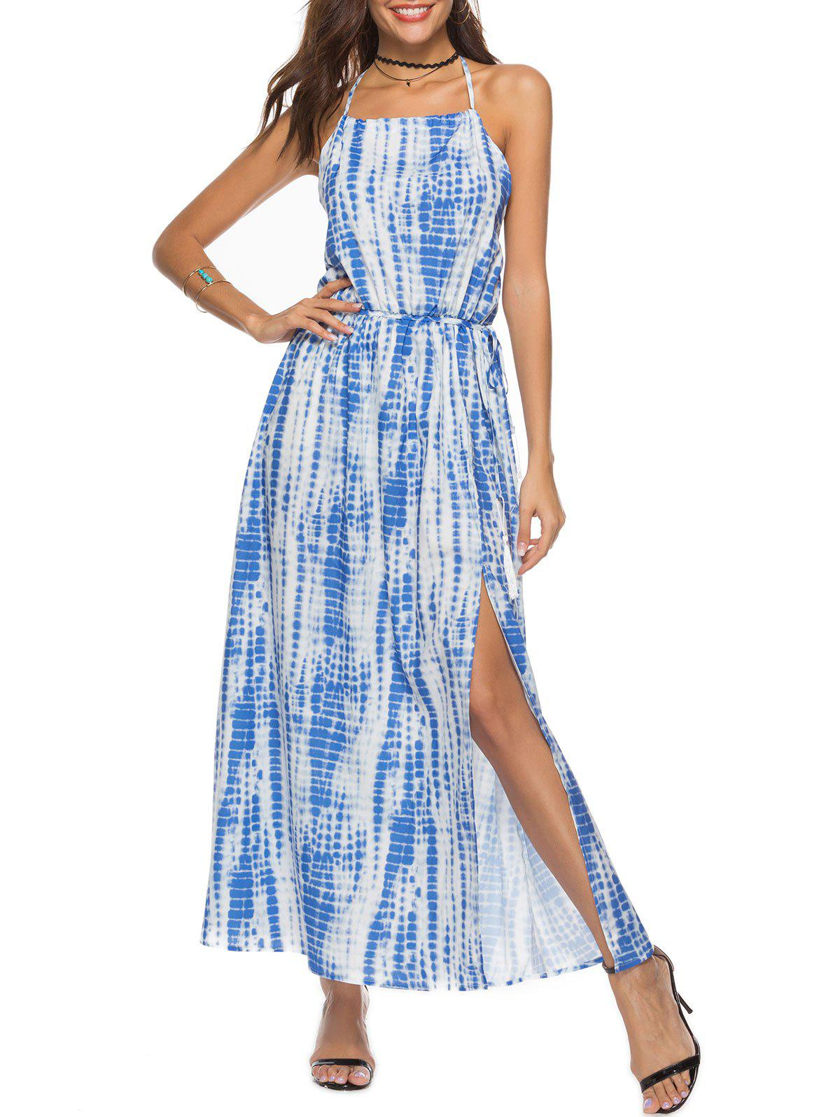 Store Tie Dyed Print Halter Maxi Dress