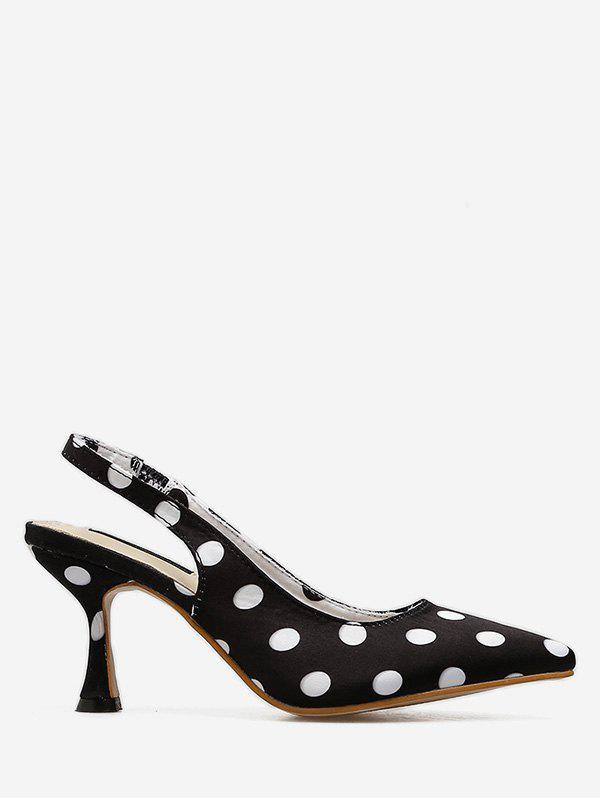 Unique Polka Dot Mid Heel Slingbacks Pumps