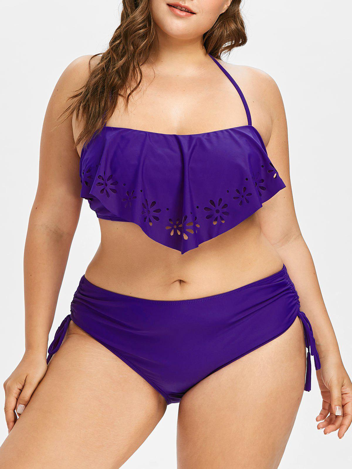 Unique Plus Size Halter Cutwork Overlay Bikini Set