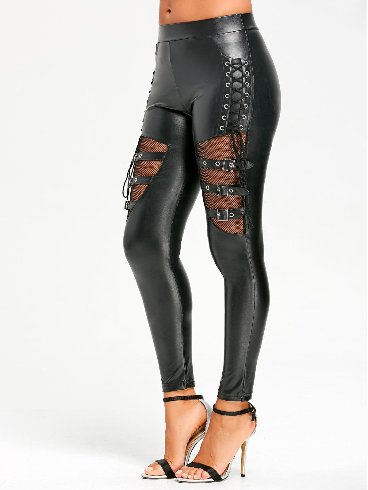 Unique Lace Up Fishnet Insert PU Leather Pants