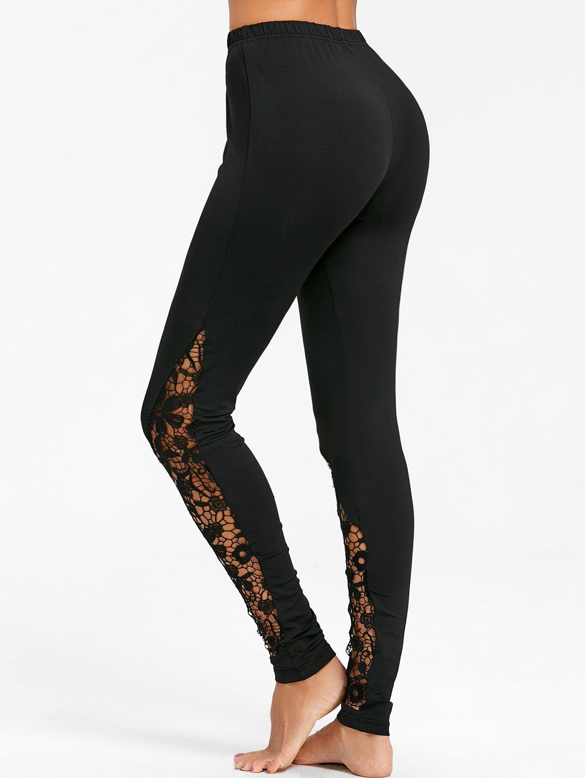 Fashion Hollow Out Lace Panel Fitted Pants