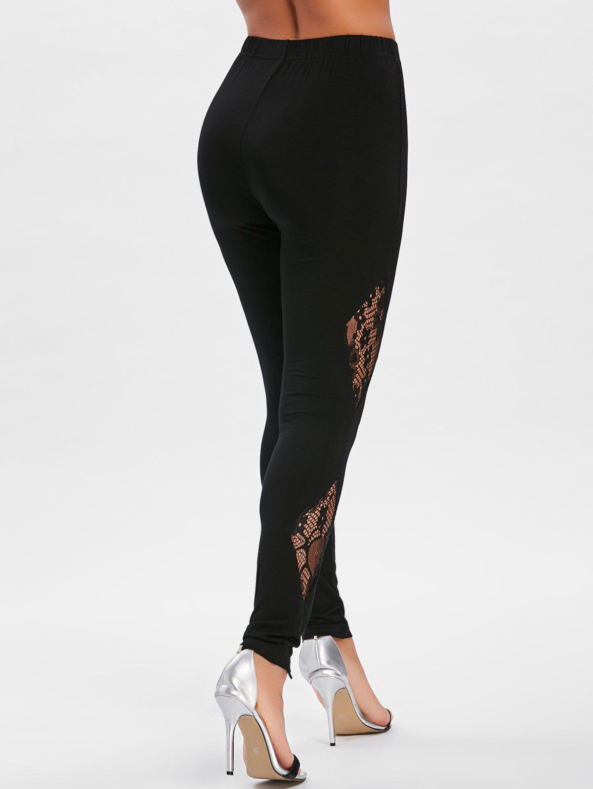 Outfits Sheer Lace Insert Fitted Leggings