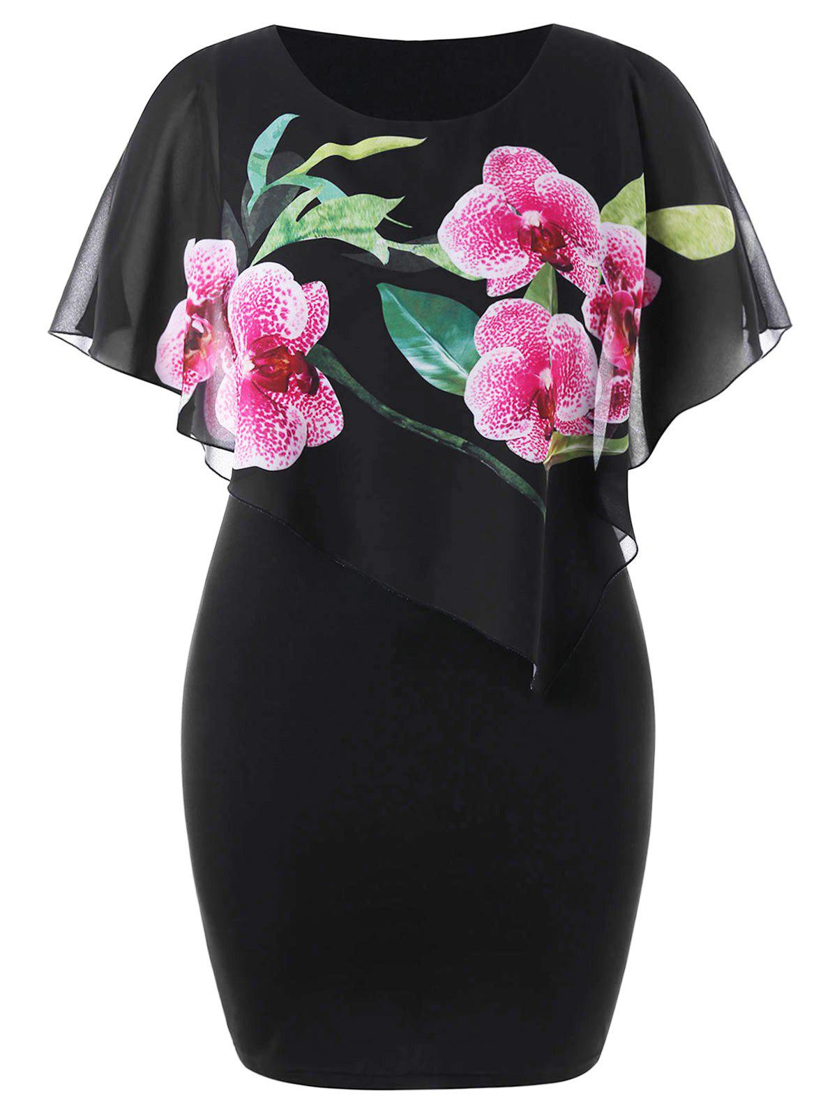 Outfit Plus Size Floral Capelet Knee Length Dress