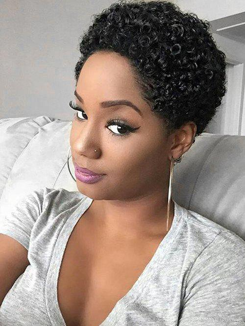 Shop Short Fluffy Afro Curly Pixie Human Hair Wig