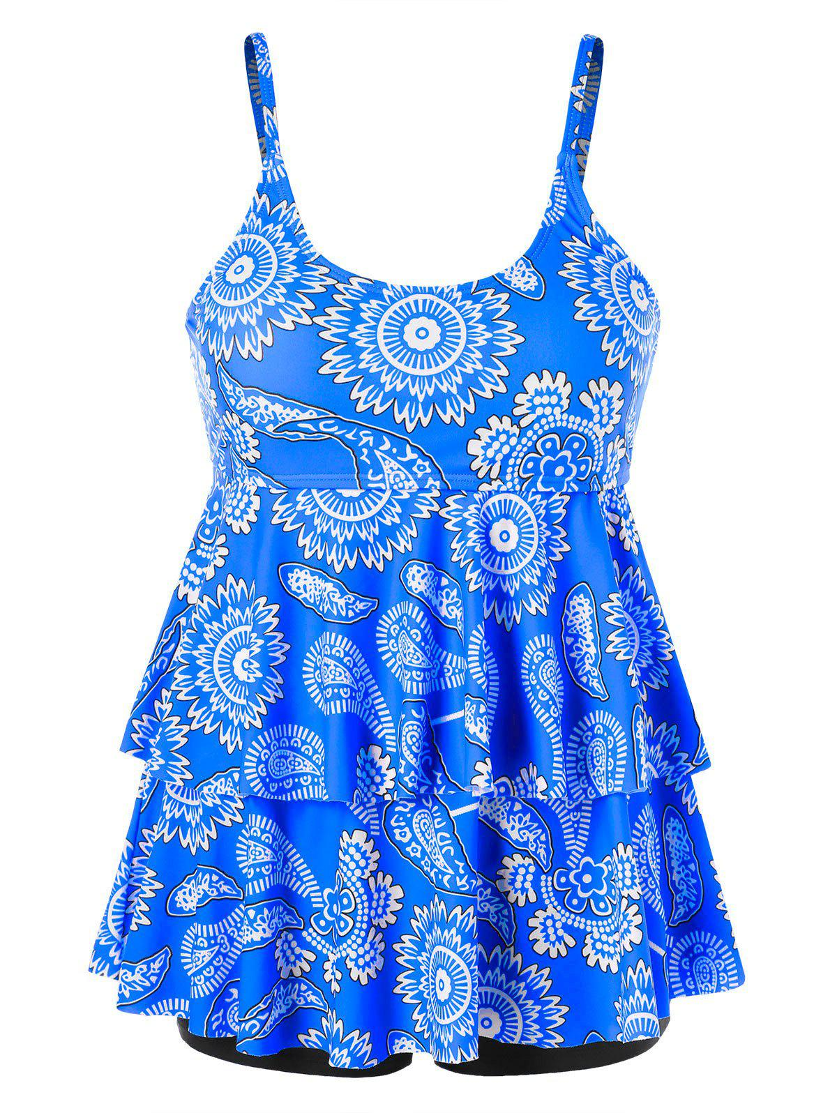 Latest Tier Flounce Printed Plus Size Tankini