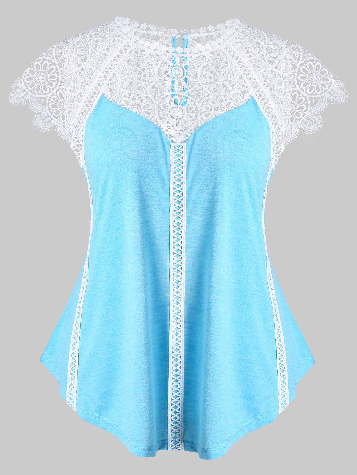 Chic Plus Size Lace Panel Cap Sleeve T-shirt