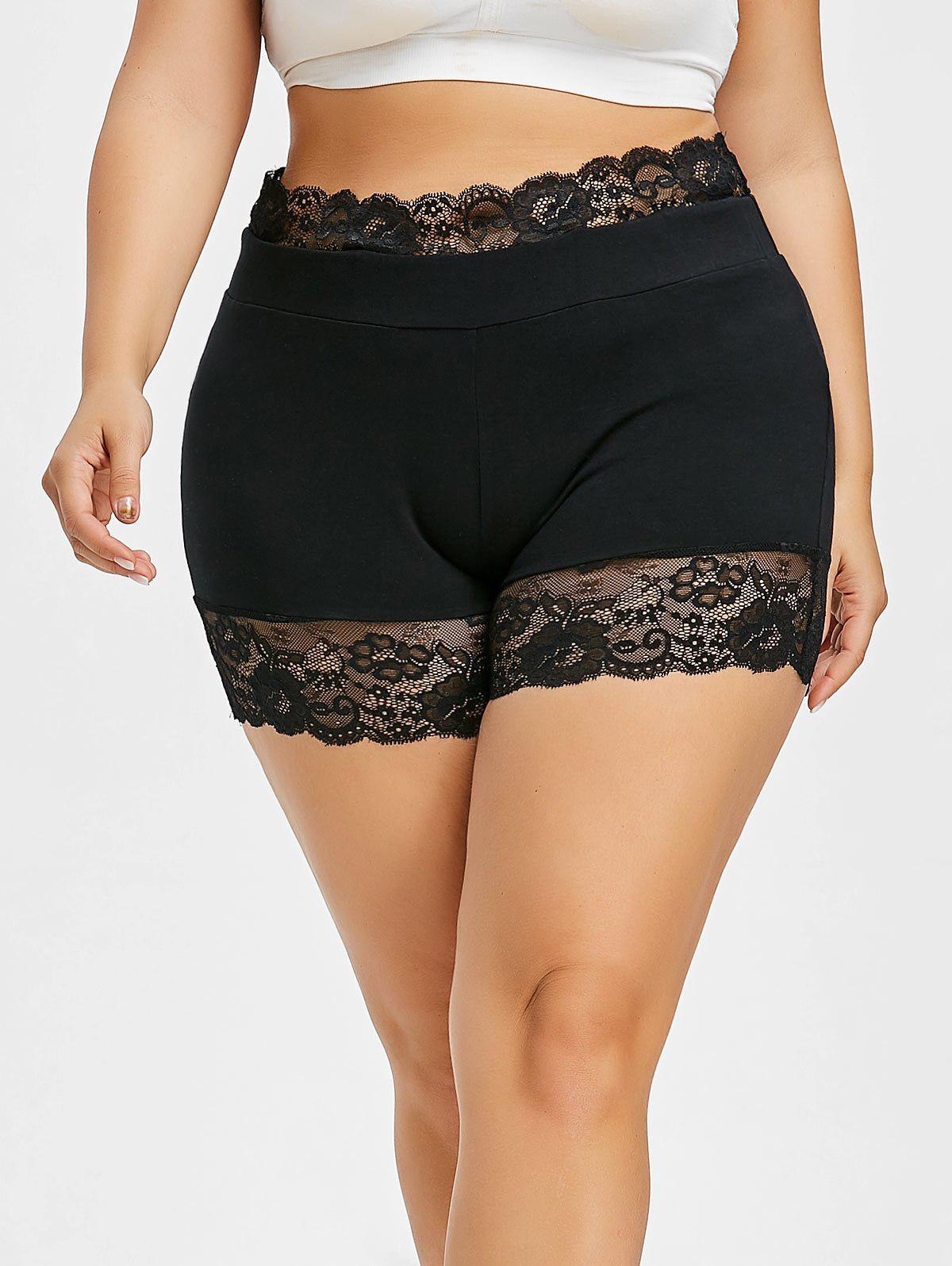 Shop Plus Size Lace Panel Scalloped Short Leggings
