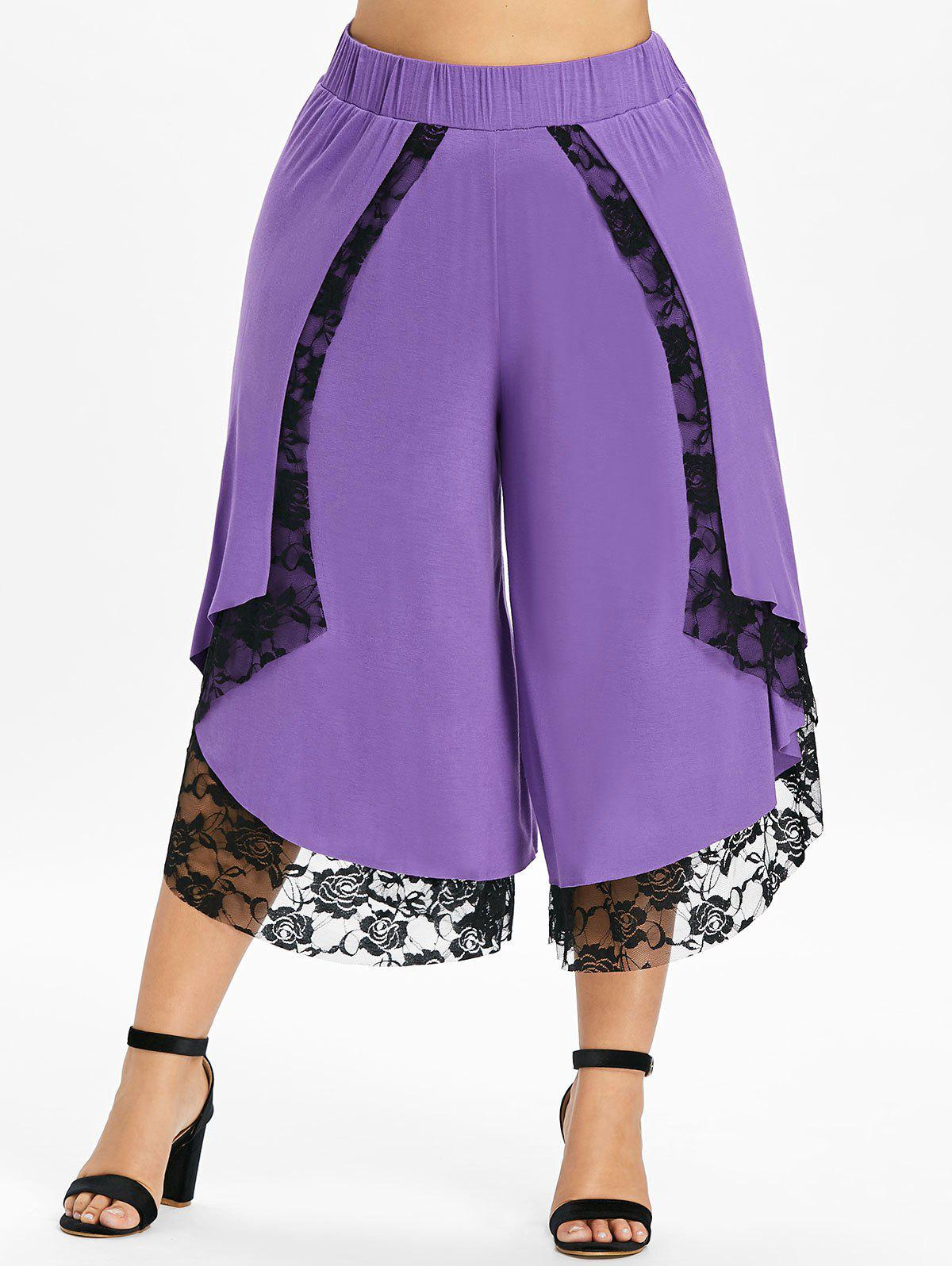 New Plus Size Cropped Lace Overlap Palazzo Pants