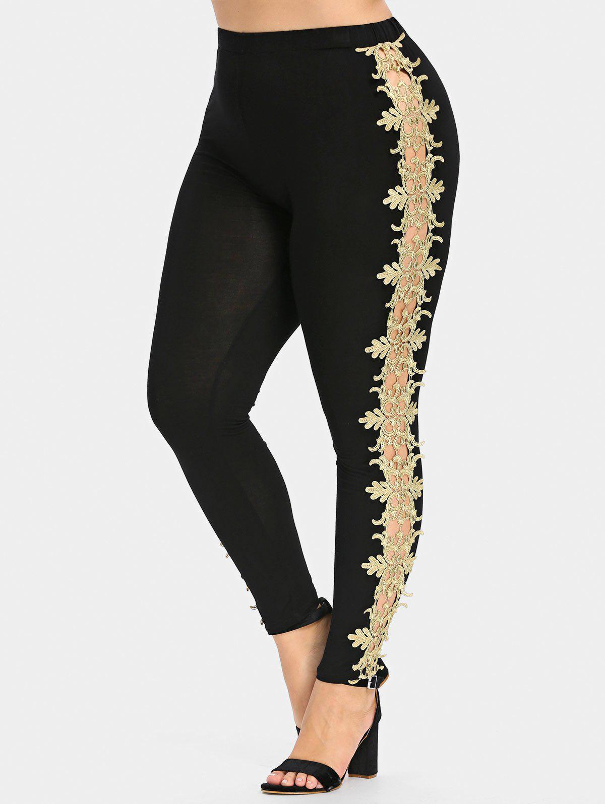 Outfits Plus Size Cutwork Lace Sides Leggings