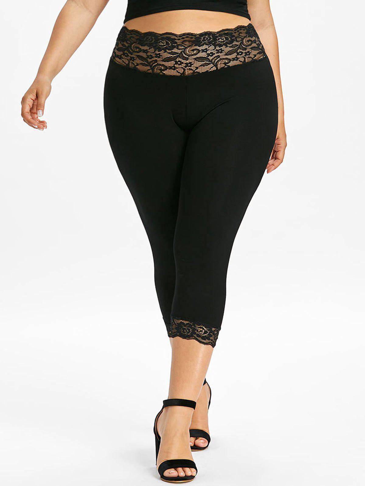 Latest Plus Size Lace Trim Capri Leggings