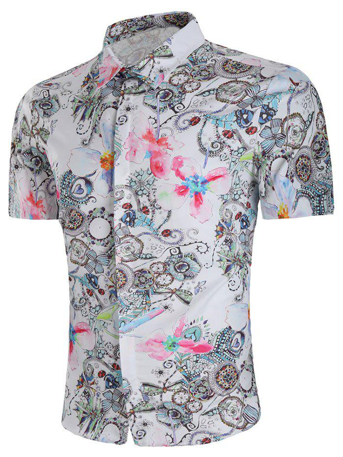 Best Flower Aquarelle Print Short Sleeve Shirt